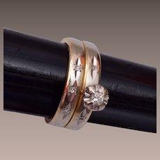 14 kt gold and Diamond Wedding Set Size 7-1/2