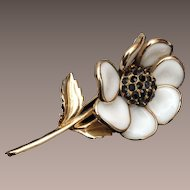 White Poured Glass Flower with Black Rhinestone Center