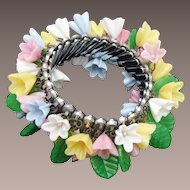 Pastel Glass Flower Expandable Bracelet