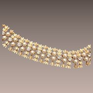 Sarah Coventry Faux Pearl and Rhinestone Bracelet