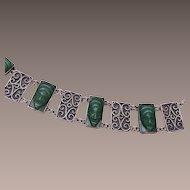 Sterling Bracelet With Jade Masks - Small