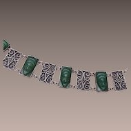 Sterling Bracelet With Jade Masks - Small