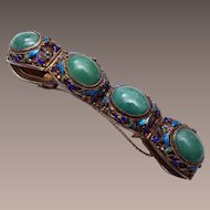 Chinese Filigree and Sterling Enameled and Peking Bracelet