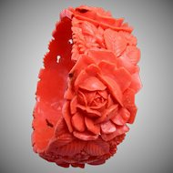 Wide Salmon Coral Colored Molded Celluloid Bracelet