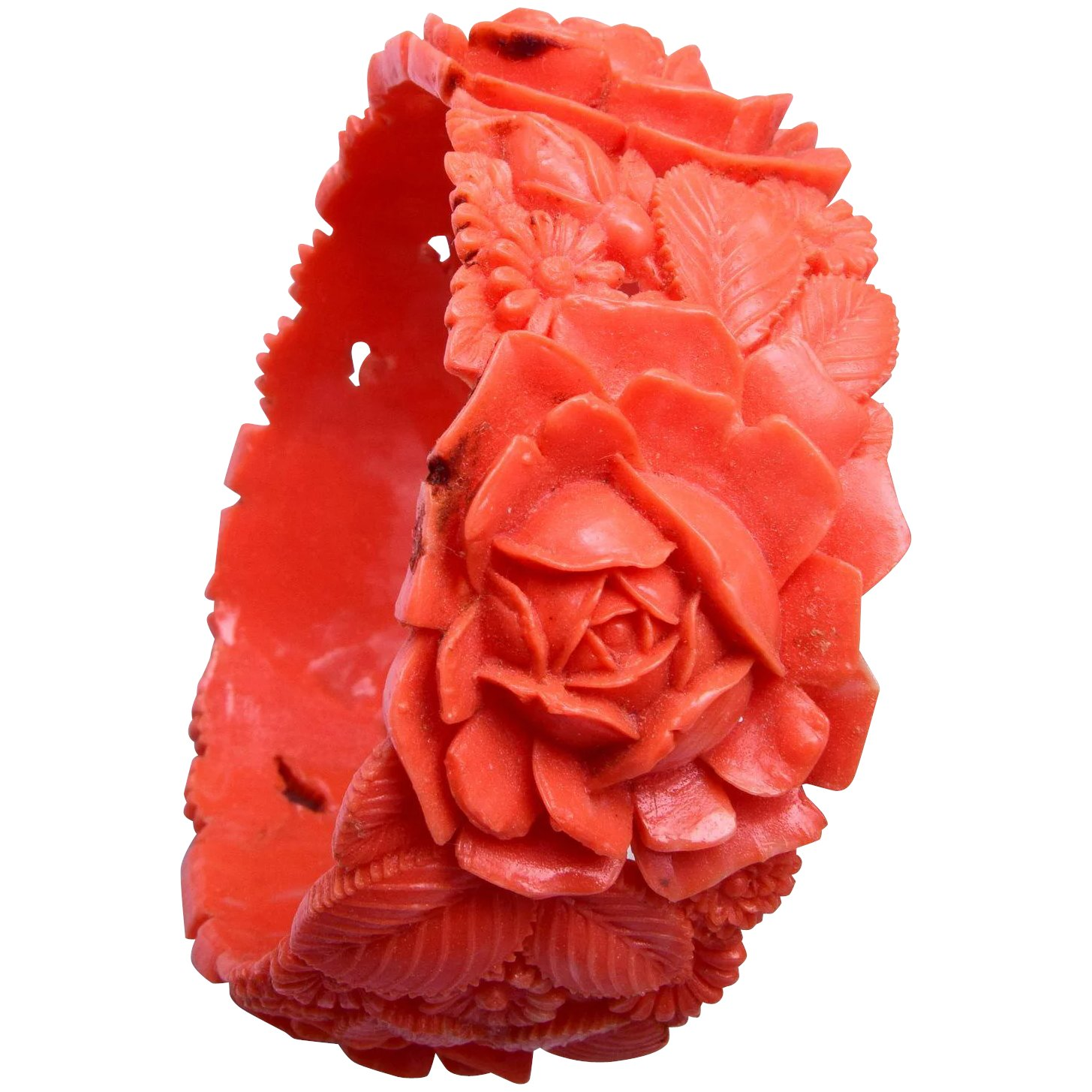 Wide Salmon Coral Colored Molded Celluloid Bracelet The Wright Glitz Ruby Lane