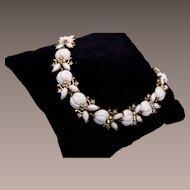 Trifari White Molded Glass Bracelet