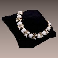 Trifari White Molded Glass Bracelet