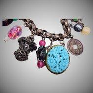 Art Glass and Molded Glass Oriental Charm Bracelet