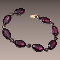 Purple Bezel Set Rhinestone Bracelet