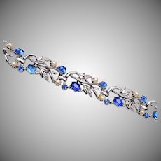 Star Blue Rhinestone and Faux Pearl Bracelet