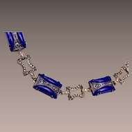 Blue Molded and Lustered Glass Bracelet