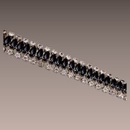 "Black Rhinestone Bracelet 6-1/2"""