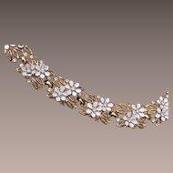 Trifari Pre 1955 Enameled White Flower Bracelet