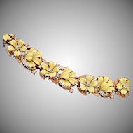 Trifari Fleurette Yellow Enameled Flower Bracelet