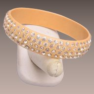 Celluloid Bangle Bracelet with 4 Rows of Rhinestones