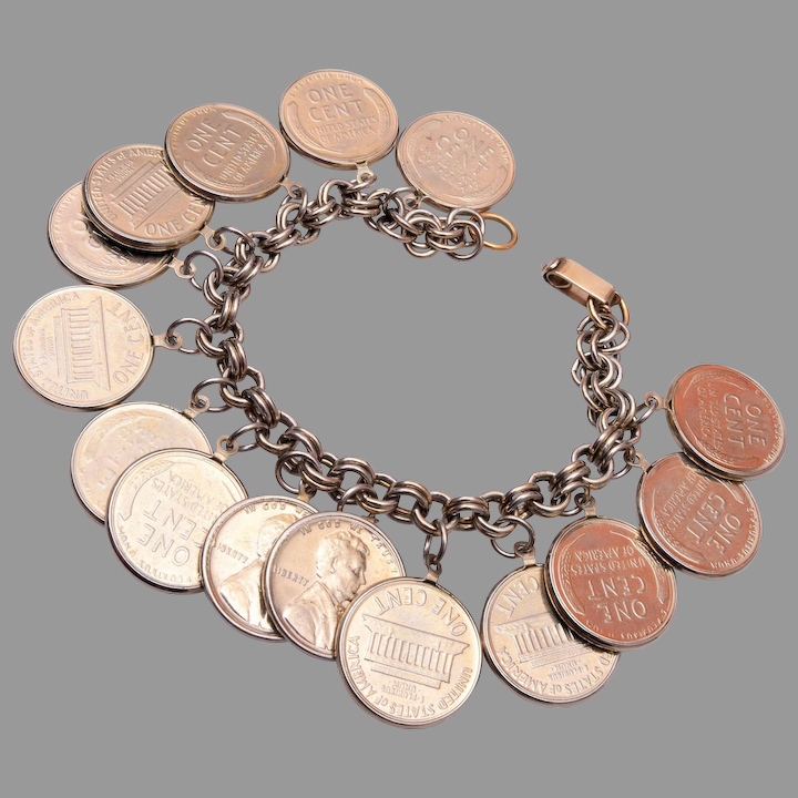 Wheat Penny Charm Bracelet The Wright Glitz Ruby Lane