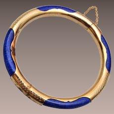 Blue Stone Hinged Bracelet