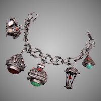 800 Silver Italy Charm Bracelet and Locket