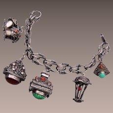 800 Silver Italy Charm Bracelet and Locket