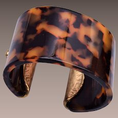 Small Faux Tortoise Shell and Metal Cuff Bracelet