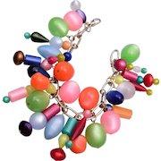 Lucite Shimmering Colorful Charm Bracelet