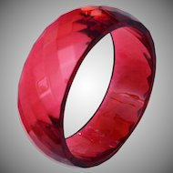 Red Faceted Lucite Bangle Bracelet