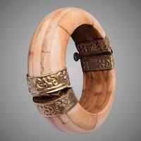 Bone Hinged Bangle Bracelet