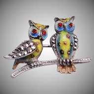 Alice Caviness Sterling Germany Owl Brooch