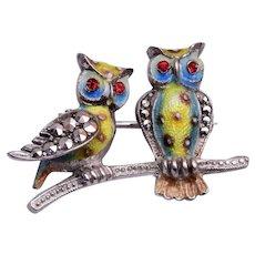 Alice Caviness Sterling Germany Owl Brooch