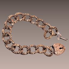 Beautiful Solid Gold Filled Curb Chain Bracelet with Padlock and Key