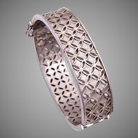 Trifari Hinged Bangle with Open Work Metal