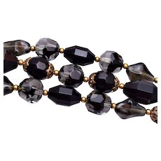 Crown Trifari Black and Givre 3 Strand Beaded Bracelet