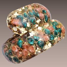 Confetti Lucite ByPass Hinged Bracelet