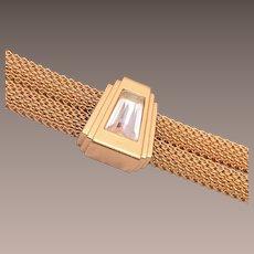 Monet Gold Tone Mesh and Rhinestone Bracelet