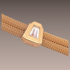 Monet Gold Tone Mesh and Rhinestone Bracelet