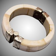 Beautiful Bone Bracelet with Metal Clasp