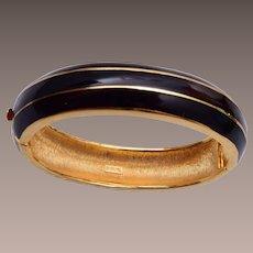 Trifari Black Enamel Hinged Bangle Bracelet