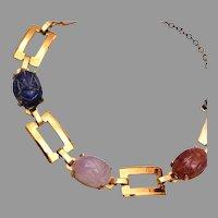 Natural Stone Scarab Bracelet