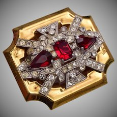 McClellan Barclay Red Rhinestone Brooch