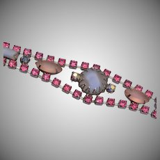 Frosted Gray and Pink Rhinestone Bracelet