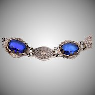 Blue Glass and Filigree Bracelet