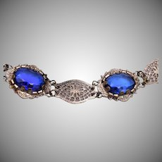 Blue Glass and Filigree Bracelet
