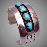 Roy Vandever Navajo Turquoise and Sterling Cuff Bracelet