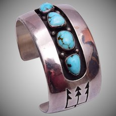 Raymond Yazzie Navajo Turquoise and Sterling Cuff Bracelet