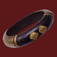 Wood and Metal Bangle Bracelet