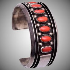 Sterling and Coral Cuff Bracelet by Jackie Singer