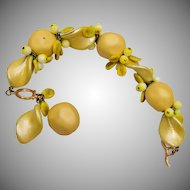 Yellow Glass Dangle Bracelet