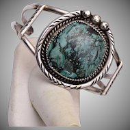 American Indian Sterling and Turquoise Cuff Bracelet