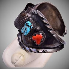 Man's Navajo Sterling, Turquoise and Coral Watch Band