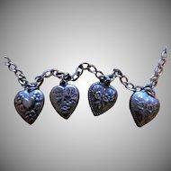 Sterling Puffy Heart Charm Bracelet